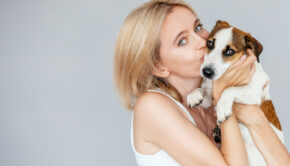 Woman with puppy dog